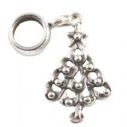 Christmas Tree Sterling Silver Dangle Charm / Carrier Bead